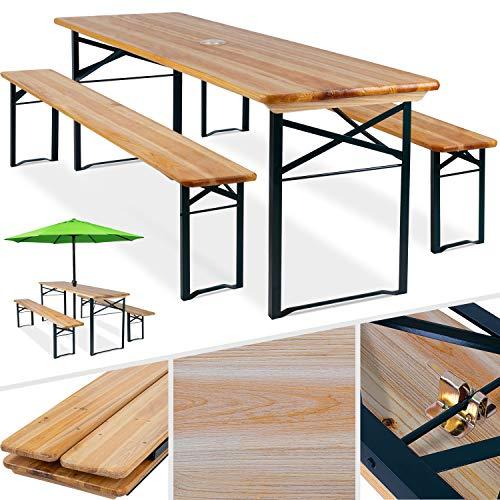 Kesser® Bierzeltgarnitur 3 teilig Gartenmöbel-Set   Klappbar 170 x 46 x 75cm   2X Bierbänke 1x Biertisch   Festzeltgarnitur Biertisch Stehtisch Sitzgarnitur Holz