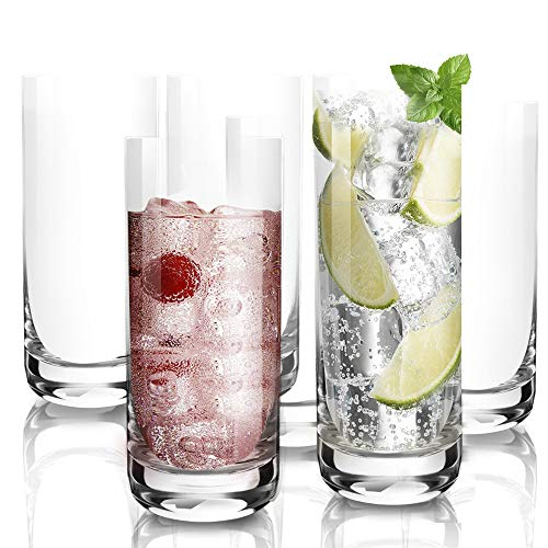 [6-Pack,390ml/13.5oz]DESIGN•MASTER - da Cocktail di Alta Qualità, Bicchieri Alti con Base Pesante, Bicchieri per Acqua, Succhi, Birra e Cocktail.