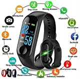 SHOPTOSHOP Smart Band Fitness Tracker Watch Heart Rate with Activity Tracker Waterproof Body Functions Like Steps Counter, Calorie Counter, Blood Pressure, Heart Rate Monitor LED Touchscreen (Black)