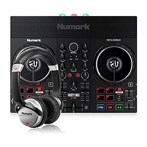 Numark Party Mix Live + HF 125 - Console DJ, Set da DJ per adulti e ragazzi con luci da discoteca, casse per DJ e mixer con Serato DJ Lite + Cuffie DJ con Filo e Serato DJ Lite
