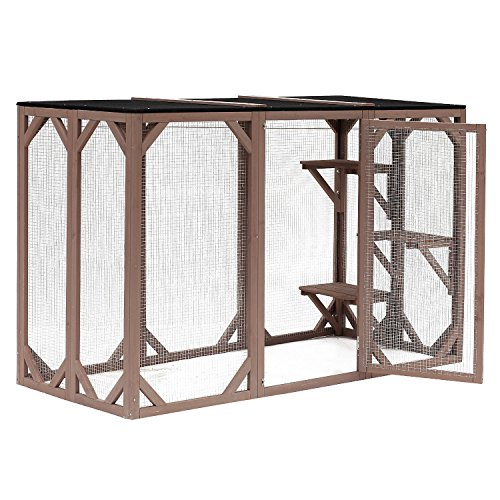 PawHut 71' x 32' x 44' Large Wooden Outdoor Cat Enclosure Catio Cage with 3 Platforms