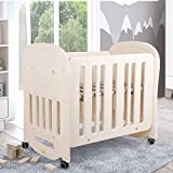 """HOMFY Mini Crib Bed for Baby Girls Boys with Wheels Lockable, Infant Bed 2 Heights Adjustable and Easy to Assemble, 41"""" L x 27"""" W, Beige,Mattress Not Included"""