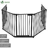 Barrière de sécurité enfant - GRANDE VERSION 3M | Barrière de protection cheminée | 5 panneaux – Pré-assemblé