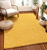 Well Woven Madison Shag Piper Yellow Solid Thick 3'11' x 5'3' Area Rug