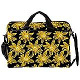 Maletín de lona para portátil de 14,5 pulgadas, diseño de flores doradas, con correas desmontables