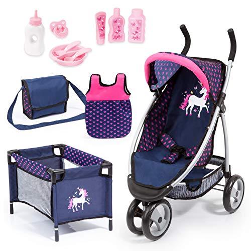 Bayer Design- Passeggino Jogger Sport, Carrozzina, Set di Accessori per Bambole con Tanti Giocattoli, Colore Blu, Rosa, 39954AC