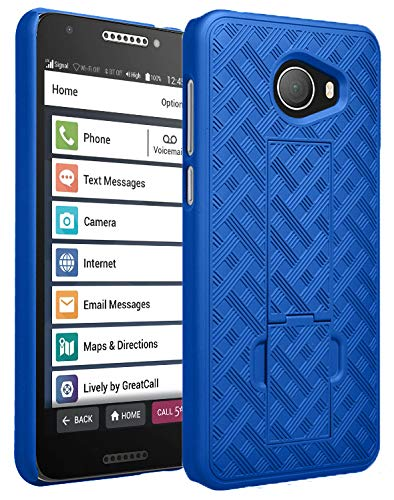 Jitterbug Smart2 Case, Nakedcellphone [Cobalt Blue] Slim Ribbed Rubberized Hard Shell Cover [with Kickstand] for GreatCall Jitterbug Smart2 Phone (5049SJBS2, Smart-2)