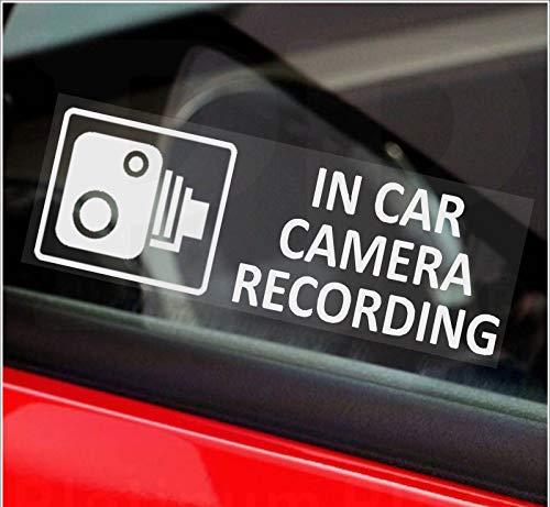 """5 pegatinas pequeñas """"Grabación con la cámara del coche"""" (no se garantiza el idioma italiano).  Impreso en naranja, rojo o blanco.  Advertencia de CCTV.  Para furgoneta, camioneta, camión, taxi, autobús, seguridad.  Para ventana, exterior, tintado, Go Pro, dashcam"""