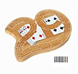 WE Games Classic Wooden 29 Cribbage Board Game with 3 Lanes