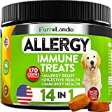 FurroLandia Allergy Relief Immune Supplement for Dogs - Seasonal & Food Allergies - Skin Itch, Hot Spots and More - Supports Digestive & Skin Health - Made in USA - 170 Soft Treats (Bacon)