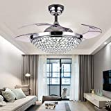 "A Million 42"" Crystal Ceiling Fan Light with Retractable Blades Remote Control LED Chandelier Fan 3 Speeds 3 Colors Changes Lighting Fixture, Silent Motor with LED Kits Included (Silver)"