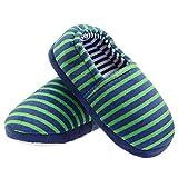 LA PLAGE Big Kid Comfy Warm Cute Soft Cotton Slippers Size 4 US Stripe Green
