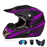 Swing around Motocross Helmet, Unisex-Adult Full Face Motorcycle Helmet, Youth Kids Dirt Bike Helmet, DOT Approved (Gloves, Goggles, Face Shield), 4Pcs Set,Purple,M