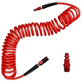Hromee 1/4 in x 25 ft Polyurethane Recoil Air Hose with Bend Restrictors Compressor Hose with 1/4' Industrial Universal Quick Coupler and I/M Plug Kit, Red