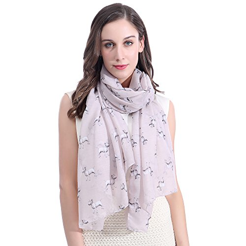 Lina & Lily Bull Terrier Dog Print Large Scarf Lightweight