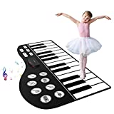 M SANMERSEN Piano Mat, 71' Piano Keyboard Mat 24 Keys Piano Play Mat with Record, Input, Playback Function Electronic Dance Mats Best Gift for Boys Girls Kids