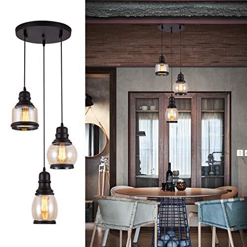 Weesalife Pendant Light with Tawny Glass Jar Shade Matte Black 3-Lights Adjustable Hanging Lighting...