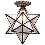 Bieye L10716 12-inch Moravian Star Tiffany Style Stained Glass Semi Flush Mount Ceiling Fixture, Suitable for Decorating Room (Iridescent)
