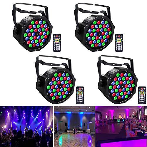 UKing Luci da Palco LED Par 72W RGB Fari da Palco con telecomando e DMX Luci da Discoteca per DJ Festa di Matrimonio Luci di Scena (4pcs)