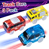 Track Replacement Car ( 3 Pack), Electric Light up Auto Bus, Blue Police Car with LED Lights, Truck Toy Compatible with Most Racing Tracks, Gift for 3 4 5 6 7 Year Old Boys and Girls