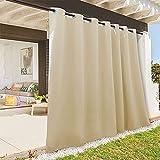 RYB HOME Indoor Outdoor Deck Curtain, Outdoor Patio Curtain Waterproof Windproof, Darkening Window Panel for Sliding Door / Foyer / Arbor / Lanai, 100-inch Width x 84-inch Length, 1 Pc, Biscotti Beige