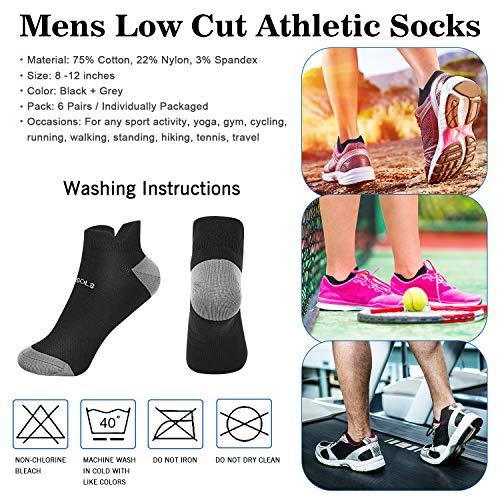 VEGOLS Mens Comfort Ankle Running Socks, Ventilating Low Cut Athletic Socks (6 Pairs)