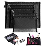 Topfinder Clear Cosmetic Bags Zip Makeup Mesh Bags Pencil Case Pouch Travel Toiletry Kit Set Storage Case (Black)