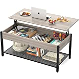 Homieasy Coffee Table, Lift Top Coffee Table with Storage Shelf and Hidden Compartment, Modern Lift Top Table for Living Room, Wood Lift Tabletop, Metal Frame - Greige