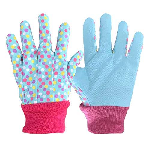 3 paia di guanti da giardinaggio morbidi e confortevoli per bambini dai 5 ai 9 anni, S, Pois blu., 3