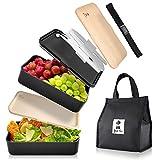 Your Fav . Premium BentoBox, Separate Aufteilung, Lunchbox Erwachsene zum mitnehmen für Arbeit und Schule, Brotdose mit 3 teiligem Besteck Set, mit Thermo Tasche, Food Brotbox Spülmaschinengeeignet