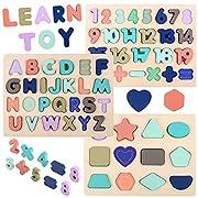 LENNYSTONE Holzpuzzle mit Buchstaben Zahlen und Form für Kinder, Alphabet Nummer Lernen, Montessori Sortierspiel Pädagogisches Geschenk, Kreativ Lernspielzeug für Jungen Mädchen 3 4 5 Jahre