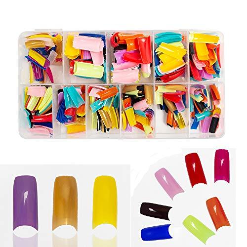 N-Fasion 550 Pcs 10 Assorted Colored Nail Tips False French Acrylic Gel Nail Art Tips Half Salon with Box (Mixed color)