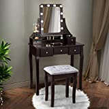 CHARMAID LED Vanity Set with 10 Dimming Light Bulbs, 3-Slot Removable Organizer, 5 Drawers, 2 Dividers, Dressing Makeup Table with Lighted Mirror and Cushioned Stool for Bedroom Bathroom (Brown)