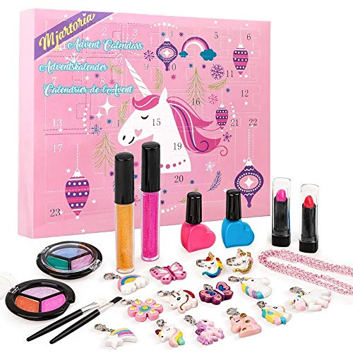 MJartoria Calendario de Adviento Maquillaje para Navidad 2021-Calendario de Adviento para niñas mujer adolescentes Maquillaje Lápiz Labial de Belleza Collar de Mariposa Colgantes Joyas Regalos únicos