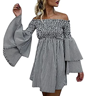 ✿ Unique Design:Off Shoulder, Flare Sleeve, Ruffled, Stripe Print, Mini Dress. ✿ Suit for party, club, beach, cocktail, wedding, dinner or casual wear to show sexy collarbone and charming back. ✿ Women Striped Off Shoulder Ruched Bell Sleeve Dress Lo...