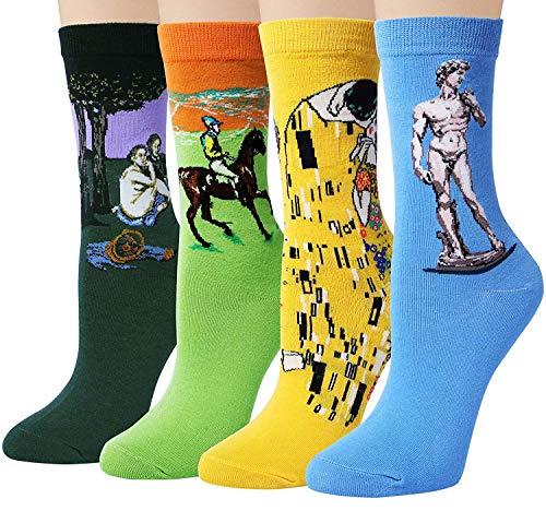 Memoryee Famoso Disegni dipinto di arte delle donne stampato divertente novit calzini di cotone pettinato/4 Pairs - S2