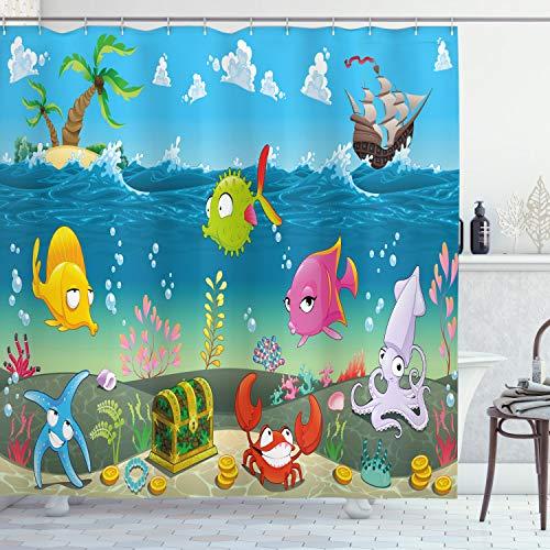 ABAKUHAUS Animal Cortina de Baño, Mar Animales bajo el Agua, Material Resistente al Agua Durable Estampa Digital, 175 x 200 cm, Multicolor