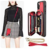 iPhone 11 Pro Max Wallet Case, iPhone 11 Pro Max Case with Card Holder, LAMEEKU Zipper Leather Case with Card Slot Crossbody Chain, Protective Cover for iPhone 11 Pro Max 6.5'' (2019) - Biking Red