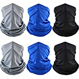 Summer UV Protection Face Clothing Neck Gaiter Scarf Sunscreen Breathable Bandana (Black, Grey, Blue, 6)