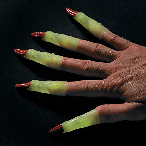 Kicko Glow in the Dark Witch Fingers - 72 Pack - 3 Inch Glowing Alien or Martian Fingernails - for Halloween Costumes, Party Favors, Pretend Play, Dress-up, Photobooth Props, Parade Accessories, Kids