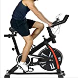 Indoor Exercise Bike Spinning Cycling Bike Stationary W/LCD Display Heart Rate Adjustable Foot Fitness Equipment (Black)