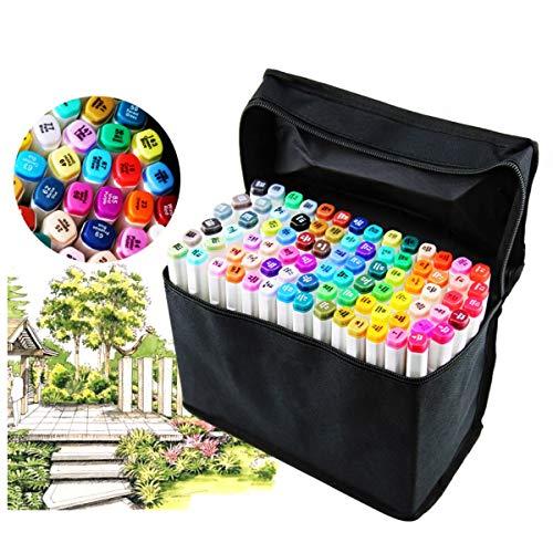 Pennarelli a doppia punta, 80 colori diversi, set di pennarelli professionali, a punta fine e spessa