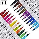 Feutres Pinceaux Couleurs 24 Stylo Aquarelle, Dual Brush Pen pour Coloriage...