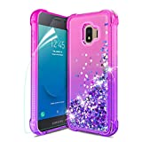 Tmacker Samsung Galaxy J2 2019 Case,Galaxy J2 Core/J2 Pure/J2 Dash/J260/J2 Shine Phone Case w/HD Screen Protector,Glitter Quicksand Shockproof Protective Phone Cover for Girls Women-Pink/Purple