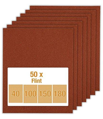 kwb Flint Schleifpapier-Set – für Holz und Farbe, K 40, K 100, K 150, K 180, 230 mm x 280 m (50 Stk. - Sparpack)