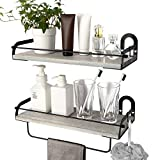 Ophanie Floating Shelves Wall Mounted Set of 2, Rustic Wood Wall Storage Shelves Organizer for...