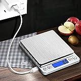 CHWARES Balance de cuisine numérique,charge USB,3 kg/0.1g,mini balance de...