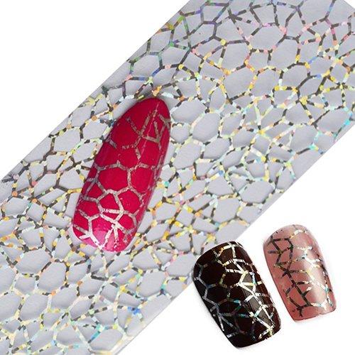 BYyushop Glitter Nail Art Sticker,Full Tips DIY Cobweb Nail Foils Transfer Polish Sticker Nail Decals for Women Grils