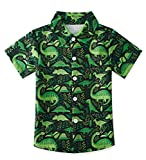 uideazone Toddler Boys Green Dinosaur Summer Vacation Tee Kids Short Sleeve Dress Shirt Party Wear Apparel Hawaiian Aloha Tops (Size 3-4T)