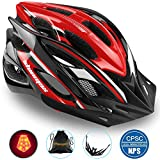 Basecamp Specialized Bike Helmet with Safety Light,Adjustable Cycling Helmet Bicycle Helmet with Removable Visor+Portable Backpack for Road&Mountain Men&Women,Youth Protection(BlackWhiteRed-BigLight)